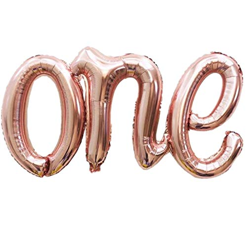 """: One Balloon Banner 40"""" First Birthday Balloons Hand Writing Style Foil Letter Baby Balloon Anniversary Celebration Decorations,Rose Gold"""