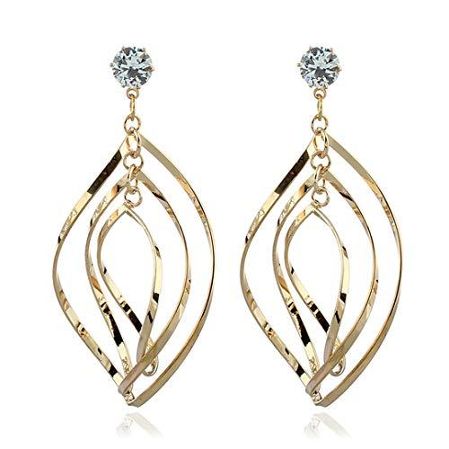 - VOWAN Women's Fahion Earrings Linear Loops Twist Wave Design Dangle Earrings for Women Girls Gold Silver