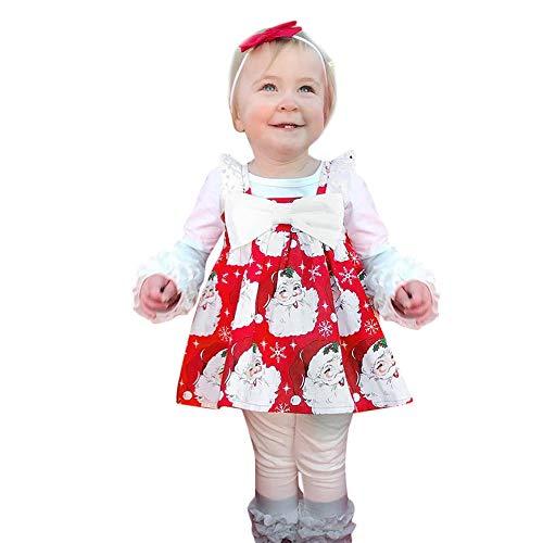 Abito Lungo Donna,Bambino Piccolo Bambini Ragazze Senza Maniche Cartone Animato Stampare Vestito Natale Dresse Abiti Rosso