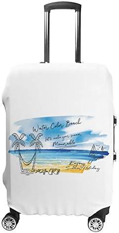 スーツケースカバー トラベルケース 荷物カバー 弾性素材 傷を防ぐ ほこりや汚れを防ぐ 個性 出張 男性と女性水彩画夏の海辺のビーチ