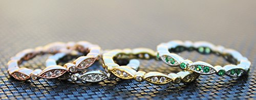 Oxford Diamond Co Milgrain Marquise & Round Cubic Zirconia Eternity Ring Stacking Infinity Wedding Band Sterling Silver Sizes 3-13 Colors Available!