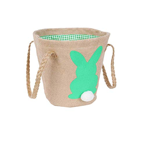 (telaite Burlap Bag, Easter Egg Basket Child Bunny Burlap Bag Carrying Candy and Gifts for Festival Party Holiday)