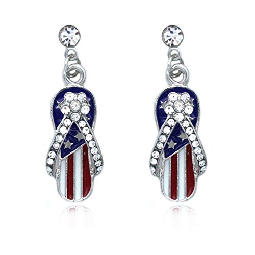 cocojewelry 4th of July USA American Flag Flip Flop Sandal Dangle Post Earrings (Style 3 Silver-tone)