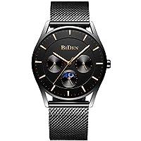 Men Watches Slim Analog Quartz Waterproof Wrist Watch Classic Minimalist Luxury Stainless Steel Mesh Band Black Unisex