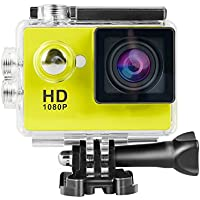 Topjoy 1080P Full HD 2.0 inch LCD Screen Waterproof Sports Action Camera Cam DV 12MP DVR Helmet Camera Sports DV Camcorder (Yellow)