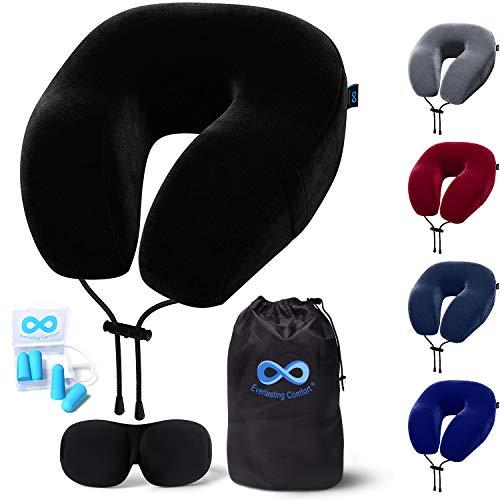 Neck Pillow  Everlasting Comfort Travel Pillow - Memory Foam Travel Neck Pillow -  Airplane Pillow Accessories - Traveling Neck Rest for Plane (Black)    Pricepulse