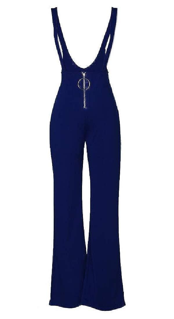 GAGA Womens Jumpsuit,Solid Sleeveless Bib Pants Strap Zipper Tunic Wide Leg Rompers Overalls