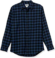 Amazon Essentials mens Regular-fit Long-sleeve Plaid Flannel Shirt Button-Down Shirt