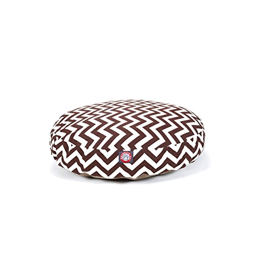 Medium Brown Chevron Stripes Pattern Dog Bed, Elegant Zig Zag Stripe-Inspired Print Pet Bedding, Round Shape, Features Water, Stain Resists, Removable Cover, Soft & Comfy Design, Plush Polyester by CU