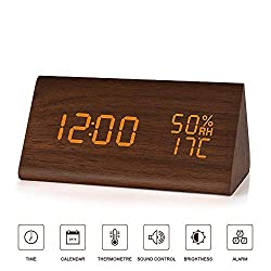 BlaCOG Digital Alarm Clock with 3 Set of Alarms,Desk Clock Display Time Date Temperature,Electronic Clock for Bedroom,Sound Control Function-Brown/Orange
