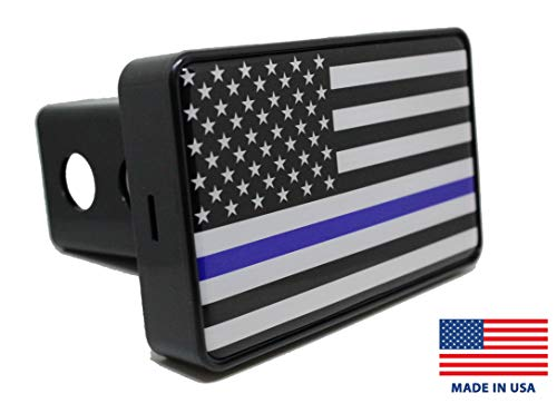 Bright Hitch - Thin Blue Line Black American Flag Hitch Cover