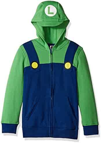Nintendo Big Boys' Luigi Fleece Zip Costume Hoodie