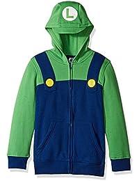 Big Boys' Luigi Fleece Zip Costume Hoodie
