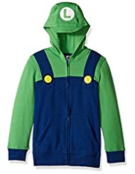 Nintendo Big Boys\' Luigi Fleece Zip Costume Hoodie, Blue/Gre...