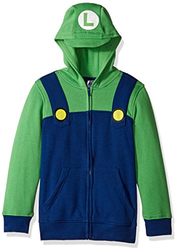 Nintendo Big Boys' Luigi Fleece Zip Costume Hoodie, Blue/Green, X-Small-8 (Screen Fleece Zip)