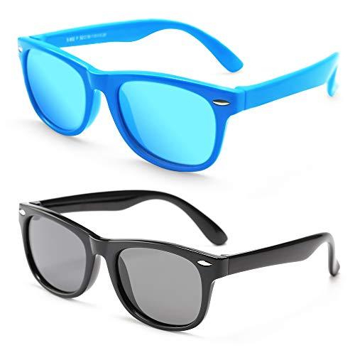 MOTOEYE Kids Cat Eye Sunglasses for Girls Boys Children From 4-12 Years Old,Pack of 2]()