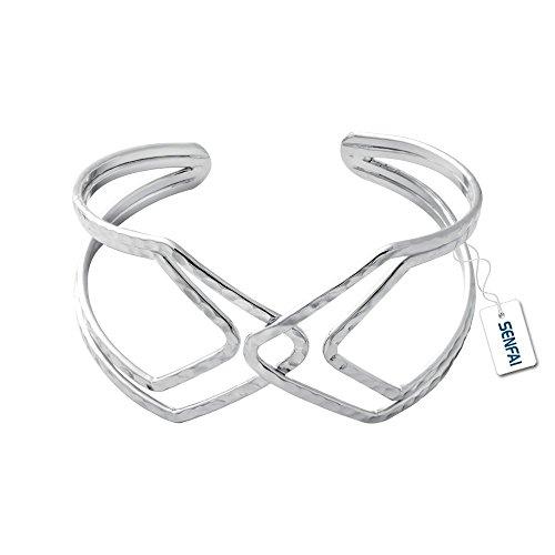 SENFAI Women Wide Hollow Cuff Bangles Statement Jewelry Punk Copper Opening Bangle Bracelets (silver) (Cuff Wire)