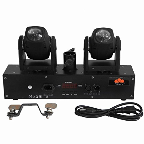 Yiscor Stage Lighting LED Beam Light RGBW 4in1 CREE 2 Moving Heads DMX512 for Disco DJ Club Home Garden Wedding Party Effect (Pack of 1)