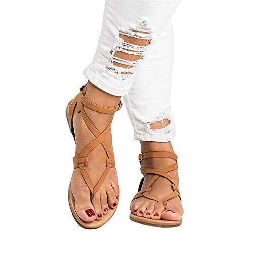 Damas Sandalias, Zapatos Planos, Antideslizante, Dedo Cruzado Cierres, Flip Flops, Casual Zapatos de Verano,Sandalias Romanas Chanclas de Damas Brown