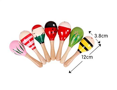 (JBBERTH Sand Hammer 4 pcs, Wooden Maracas Kids Handmade Wooden Rattles, Baby Music Rattles Shaker, Random Color Pattern)