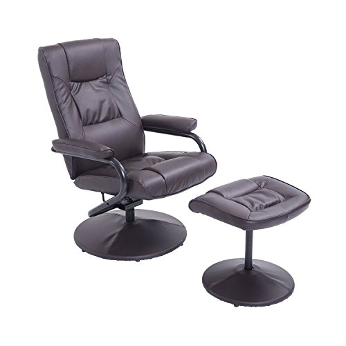 HomCom PVC Leather Recliner and Ottoman Set - Brown