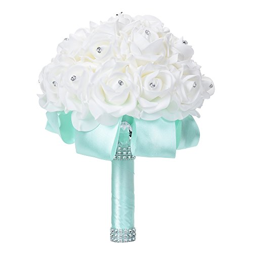 Febou Wedding Bouquet, Big Size Bridesmaid Bouquet Bridal Bouquet with Crystals Soft Ribbons, Artificial Rose Flowers for Wedding, Party and Church (Mint Green, Big Size)