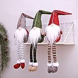 Zehui Muñecas de la Navidad de Las piernas largas, Muñecas sin Cara para la decoración de Las Fiestas navideñas Rojo