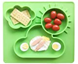 Ledsolver Food Grade Silicone Baby Plate and Baby Bib, Baby Suction Placemat for Toddlers(Green)