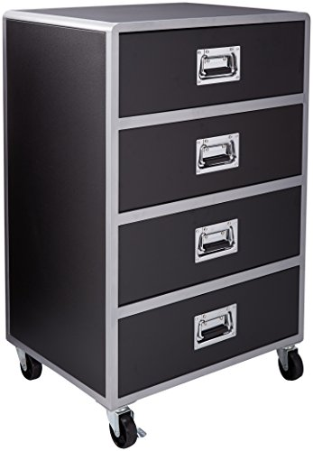Coaster Home Furnishings  LeClair Modern Contemporary Youth Mobile Metal Four Drawer Storage Chest with Casters - Black Faux Leather / (Coaster Black Metal)