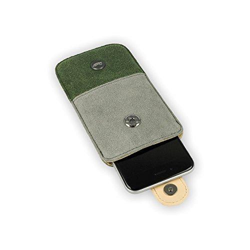 QIOTTI Q. Pochette alcan Housse étui en cuir véritable taille XL–vert/gris