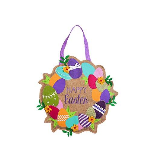 Evergreen Flag Happy Easter Wreath Outdoor Safe Burlap Hanging Front Door Decorative Sign