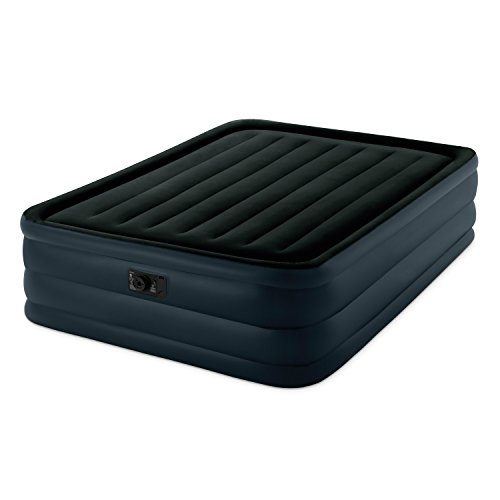 Double Platform Top (Intex Raised Downy Airbed with Built-in Electric Pump, Queen, Bed Height 22