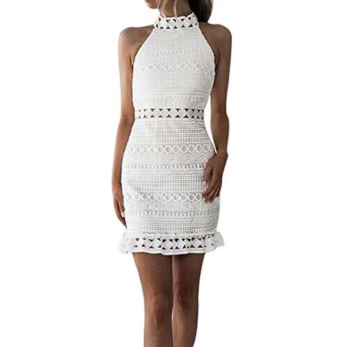 Rambling Womens Sexy High Neck Lace Bodycon Cocktail Ladies Party Pencil Midi Dress White