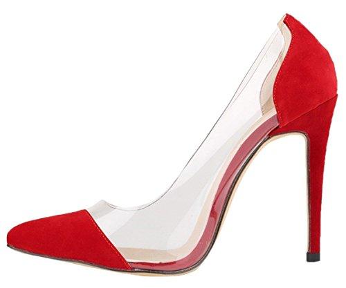 HooH Damen High Heel Spitze Zehe Transparent Hochzeit Pumps Rot-1