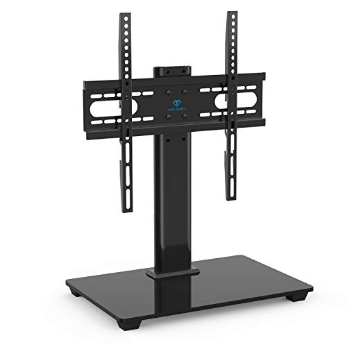 Tv Steel Stand Modern (PERLESMITH Universal TV Stand - Table Top TV Stand for 37-55 inch LCD LED TVs - Height Adjustable TV Base Stand with Tempered Glass Base & Wire Management, VESA 400x400mm)