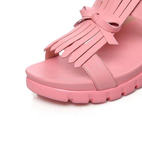 Selin Kärki Alhainen Naisten Vaaleanpunainen Kiinteä Allhqfashion Solki Avoin Sandaalit IxqOPH7wp