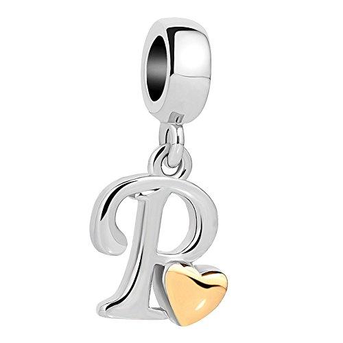 Charm Dangle Necklace - QueenCharms Initial A-Z Letter Charm Golden Heart Alphabet Dangle Beads For Bracelets & Necklaces (P)