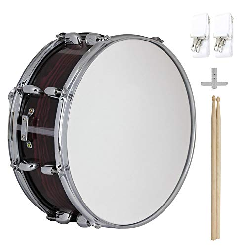 LVSSY-Snare Drum Set,Brown Snare Drum Plating Process Not Easily Deformed with Advanced 20 Wire Carbon Steel Sand Belt for Student (14 Inches)