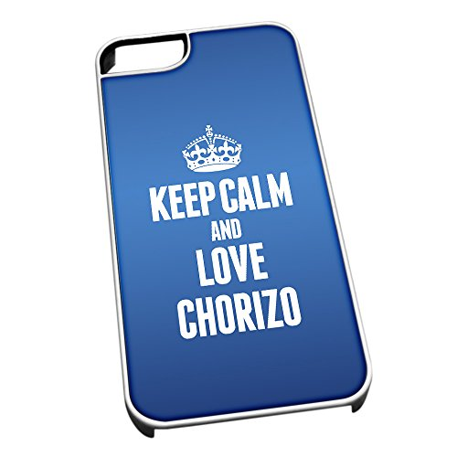 Bianco cover per iPhone 5/5S, blu 0959 Keep Calm and Love Chorizo