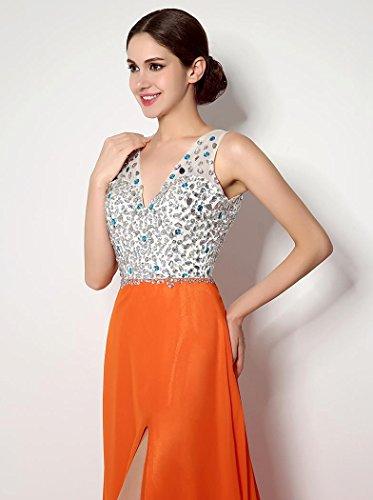Beauté Multicolore Emily Dos Nu V-cou Chapelle Train Robe Eveing d'orange
