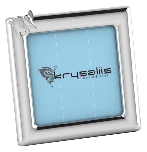 Sterling Photo Square Silver Frame (Krysaliis Sterling Silver Elephant Square Frame - Blue Stand)