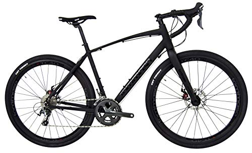 Tommaso Illimitate Shimano Tiagra Gravel Adventure Bike with Disc Brakes, Extra Wide Tires, and Carbon Fork, Perfect for Road Or Dirt Trail Touring, Matte Black - Extra Small