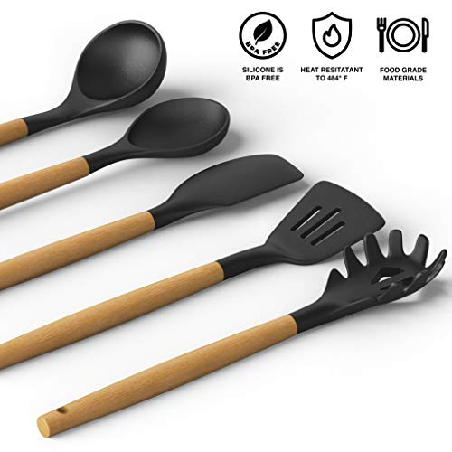 BALCI - 5 Piece Cooking Utensil Set with Wood Handles and Heat Resistant Non Stick Silicone thats Easy to Clean - Black