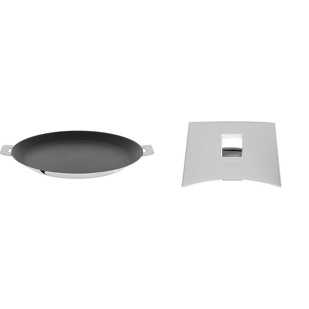 Cristel CR30QE Non-Stick Crepe Pan, Silver, 12'' with Cristel Mutine Plmaw Side Handle, White