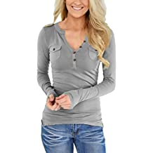 ZKESS Womens Casual Henley Shirts Button Long Sleeve V Neck Slim Blouse Tops with Pockets(S-XXL)