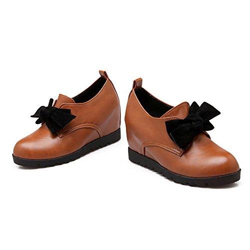 AllhqFashion Damen PU Leder Rein Ziehen auf Rund Zehe Hoher Absatz Pumps Schuhe Gelb