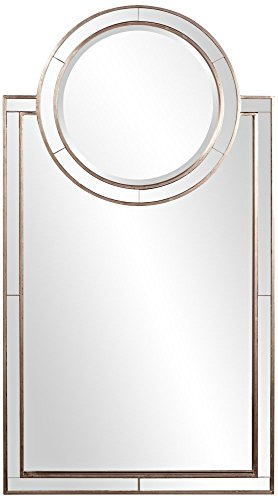 Howard Elliott 92042 Cosmopolitan Rectangular Vanity Mirror with Round Mirror Accent, Distressed Silver Leaf