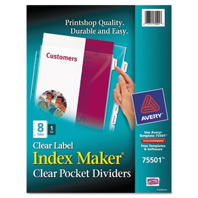 Avery Dennison Index Maker (Avery Products - Avery - Index Maker Clear Label Three-Hole Punch View Dividers, Letter, 8/Set - Sold As 1 Set - A divider and sheet protector all in one. - Allows you to use over 100 popular software programs. - Clear labels virtually disappear when applied to the View Divider tab. - Three-hole punched. -)