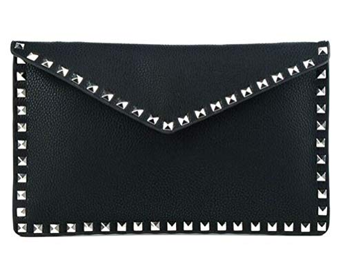 Inzi Envelope Clutch with Studs Black ()