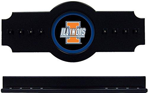 NCAA Illinois Fighting Illini ILLCRR200-B 2 pc Hanging Wall Pool Cue Stick Holder Rack - Black